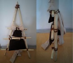 Wooden backpack frame with wool shoulder straps. Prefer wool over leather, as these can still carry around 15-20kg, but do not cut into skin when wet from sweating.