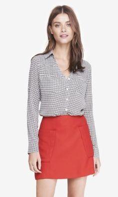 diamond print convertible sleeve portofino shirt from EXPRESS