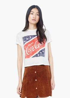 Printed cotton t-shirt - T-shirts for Women   MANGO