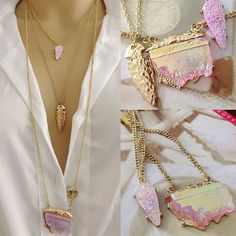 2016 New Summer Style Jewelry At The Long Mode Multi Layer Three Neon Geometric Faux Stone Necklace for Women Alibaba Group, Neck Accessories, Quartz Geode, Multi Layer Necklace, Geometric Necklace, Crystal Choker, Faux Stone, Stone Necklace, Gold Necklace