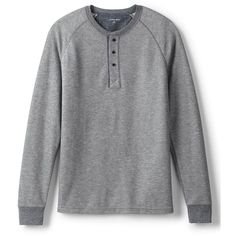 Lands' End Men's Long Sleeve Thermal Henley (155 RON) ❤ liked on Polyvore featuring men's fashion, men's clothing, men's shirts, men's casual shirts, grey, mens grey shirt, mens casual long sleeve shirts, mens thermal shirts, mens thermal henley shirts and mens gray dress shirt