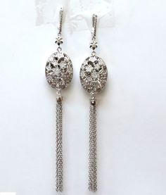 18KT 3D 1.50CT STAR DOME DIAMOND DANGLE EARRINGS G/VS : Lot 87