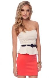 Vanna Belted Peplum Dress in Coral - $39.00