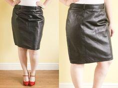 Genuine Leather Skirt | Black Skirt | Midi Skirt | Pin Up Skirt ...