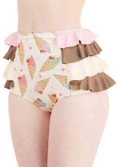 Savor the Sunshine Swimsuit Bottom - Multi, Novelty Print, Ruffles, Tiered, Beach/Resort, Vintage Inspired, Statement, Kawaii, Food, High Waist, Exclusives, Underwire