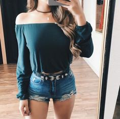 June Off Shoulder Crop Top (Mallard)