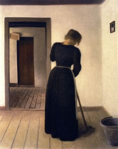 Interior with a Young Woman Sweeping (Vilhelm Hammershøi - 1899)