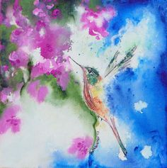 Original Abstract Acrylic Hummingbird Painting by Artfulcreations, $52.00