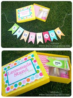 This is an Adorable FREE printable for a Lemonade Stand in a Box, little girls would love this!
