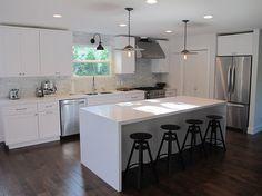 Amber Interiors - kitchens - industrial, stools, modern, white, quartz, kitchen island, creamy, white, kitchen cabinets, white, quartz, coun...