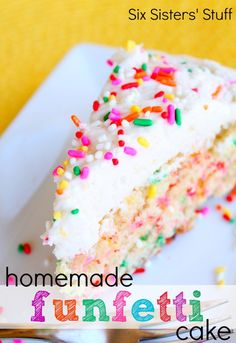Homemade Funfetti Cake and Buttercream Frosting from SixSistersStuff.com.  This cake is so delicious and has the best frosting EVER! #cake #recipes #dessert