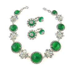 This rare #Vintage #NettieRosenstein #Sterling Silver #Gripoix #Emerald #Choker #Necklace and Earrings Set is so #oldhollywood glam.  #fashionhistory  #wishlist #estatejewelry #findatreasure #jotd #lovepreadored #couturejewellery #vintagejewelry #jewelry #couturejewelry  Available at https://preadored.com #fashionhistory  #wishlist #estatejewelry #findatreasure