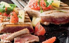 Grilled tuna steak wasabi sauce beefeater calories recipe soy steaks with sesame crust in home improvement Grilled Tuna Steaks, Grilled Steak Recipes, Wasabi Sauce, Steak Skewers, Freshly Squeezed Orange Juice, Healthy Grilling Recipes, No Calorie Foods, Food Videos