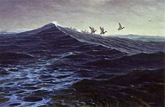 'Scaup Run', Alkyd   By Robert B. Dance      -Painted for the #Easton #Waterfowl Festival Gold Room. While this #painting is not yet on website, you can see more of my #seascapes at www.robertbdance.com
