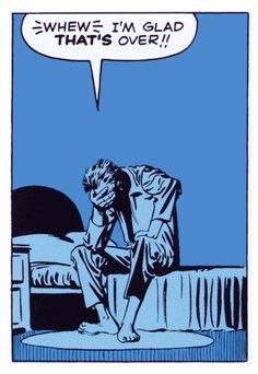 "Comic Boys Say. "" I'm Glad that's over ! Roy Lichtenstein, Bd Comics, Funny Comics, Comic Books Art, Comic Art, Pop Art, Comic Book Panels, Steve Ditko, Ligne Claire"