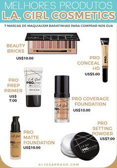 Os melhores produtos da L.A. Girl! Veja mais dicas de marcas de maquiagem baratinhas para comprar nos Estados Unidos nesse post! Dupes, Orlando, Eyeshadow, Make Up, Lipstick, Disney, Usa, Makeup Products, Chile