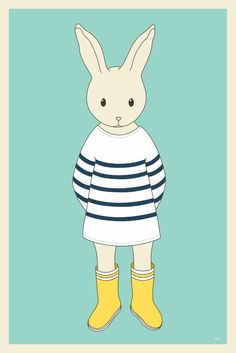 Image of Affiche Le lapin à rayures.
