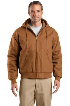 Buy the CornerStone - Tall Duck Cloth Hooded Work Jacket Style TLJ763H from SweatShirtStation.com, on sale now for $63.88 #workcoat #tall #duckcloth