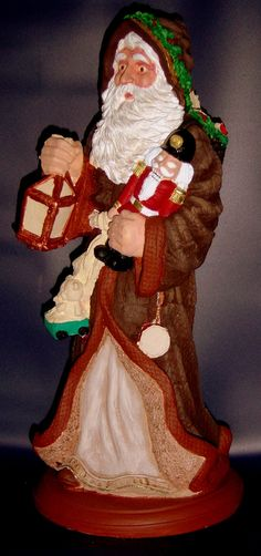 """12"""" tall plaster Santa has nice detail but needs a little more work"""