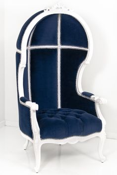Our new Petite Balloon Chair in Navy Velvet by ModShop