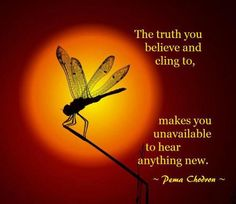 The truth you believe and cling to, makes you unavailable to hear anything new.