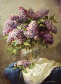 Lilac in a glass jug by Smorygina Anna Fruit Painting, Garden Painting, Painting Lessons, Pictures To Paint, Watercolor Flowers, Painting Inspiration, Diy Art, Flower Art, Photo Art