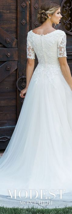 Modest Wedding Dresses - Lace and tulle A line gown features sheer short. Modest Wedding Dresses - Lace and tulle A line gown features sheer short sleeves with modest cap sleeves, curved. Wedding Gowns With Sleeves, New Wedding Dresses, Bridesmaid Dresses, Wedding Veils, Wedding Skirt, Event Dresses, Homecoming Dresses, Kids Wedding Dress, Short Sleeved Wedding Dress
