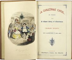 Frontispiece of Dickens' A Christmas Carol, first edition 1843, illustrated by Leech.