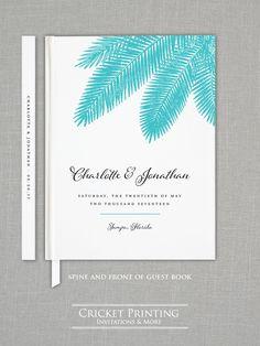 Benutzerdefinierte Hochzeit Gästebuch - Charlotte Teal Palm Tree Beach Hochzeit Gästebuch von CricketPrinting auf Etsy https://www.etsy.com/de/listing/199251207/benutzerdefinierte-hochzeit-gastebuch