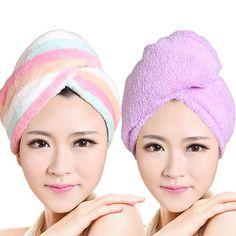 2pcs/set Womens Girls Lady's Quick Dry Bath Hair Drying Towel Head Wrap Hat Makeup cosmetics Cap  Bathing Tool