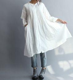 【Fabric】 Baumwolle 【Color】 weiß Größe】 Schulter 55 cm/21  Büste 102 cm/40  Sleeve 49 cm/19  Länge 95 cm/37   Haben Sie Fragen, kontaktieren Sie mich und