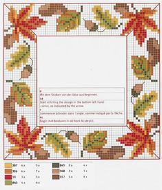 Verliebt in den Herbst: Über 50 Kreuzstichmuster Fall Cross Stitch, Cute Cross Stitch, Cross Stitch Borders, Cross Stitch Flowers, Cross Stitch Designs, Cross Stitching, Cross Stitch Embroidery, Embroidery Patterns, Cross Stitch Patterns