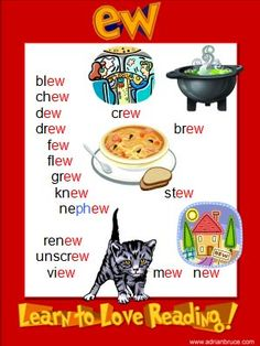'ew' printable phonics poster FREEBIE