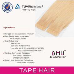 "tape  hair extension (4cm X 0.8cm ,tape size) use the ""Supertape ""  Flex tape""  "" No shine tape"""