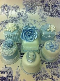 Green and Blue Vintage  Mini Cakes