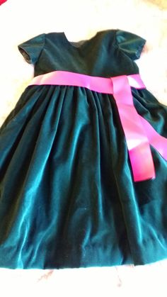 """""""Dark Hunter Green w sophisticated hot pink  sash The go to dress for family photos. Velvet is lush  and hot pink sash makes it come alive. great for special occasion, portraits, holidays, or just a moment of luxury."""