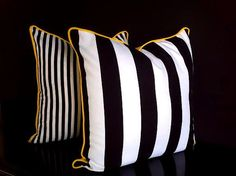 Black and White Striped Throw Pillow 20 by 20 by CushionsandMore