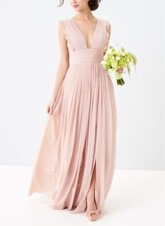 Dainty ruffles soften the precise pleats shaping the décolletage-flaunting bodice of this enchanting chiffon gown.