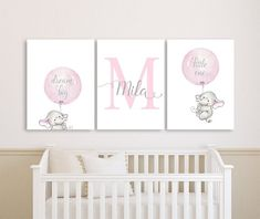 Elephant Baby Girl Nursery Wall Art Canvases, Elephant Personalized Nursery Canvas, Pink Gray Monogr Related Baby Nursery Inspirations Part 1 Elephant Nursery Girl, Baby Girl Nursery Themes, Baby Room Decor, Elephant Wall Art, Baby Bedroom, Bedroom Wall, Nursery Ideas, Room Ideas, Nursery Paintings