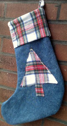 Christmas Stocking Upcycled Denim and Flannel Tree by debupcycles, $18.00