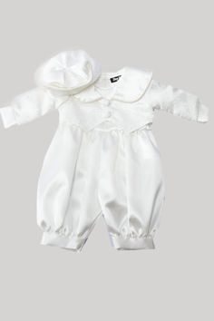 Boys christening romper suits in white and ivory