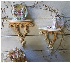 Vintage Set of Antique Cream Wooden Syrocco by rosepetalsandblooms, $48.00