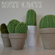 Knit Cacti - making some for my boss for Christmas, they'll look great in his cubicle!