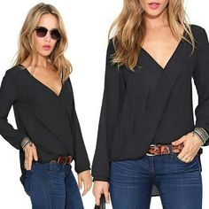 V-neck Tops Long Sleeve Shirt V-neck Tops Long Sleeve Shirt. This is Semi-Sheer and definitely need a tank top or a cute bralette underneath.   This is NWOT Retail Price Firm Unless Bundled.  Measurements Available Upon Request. Tops Blouses