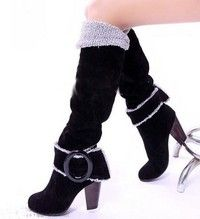 Wish | Snow Boots Big size 34-43 Square High Heels Knee High Winter Shoes for Women Sexy Warm Fur Buckle Fashion Boots