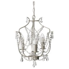 Kristaller chandelier 3 armed silver color glass chandeliers ikea kristaller chandelier 3 armed the height is easy mozeypictures Images
