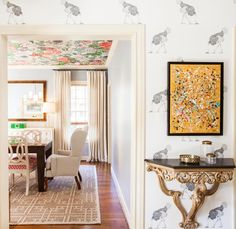 Amazing prints all over...including the ceiling! via laurauinteriordesign.com