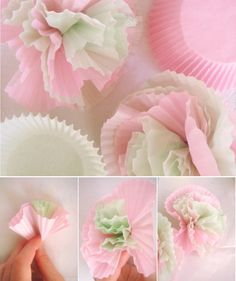 diy till we die: cupcake wrapper blooms – DUJOUR MAGAZINE    Can use different colors to fit theme, perfect cheap flowers