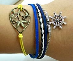 DIY handmade bracelet  with fruit tree and compass blue rope  Adjustable length both for man and woman for girl and boy. $4.99, via Etsy.