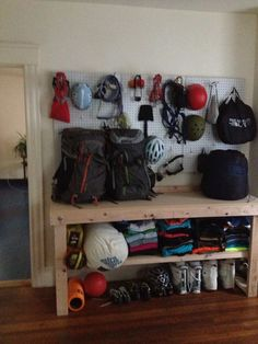 DIY gear storage! Workbench from Home Depot, super easy fold out! Pegboards and viola!